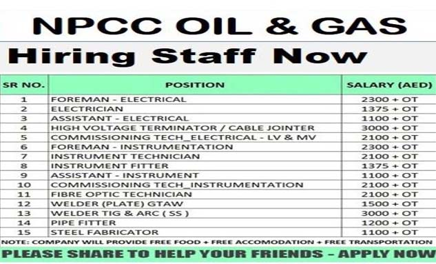 NPCC Oil & Gas Company Recruiting Staff Now 2018 Apply Now